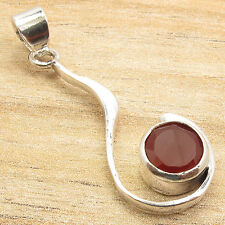 Round Cut Red CARNELIAN Natural Stone Pendant, Silver Plated Handcrafted Jewelry