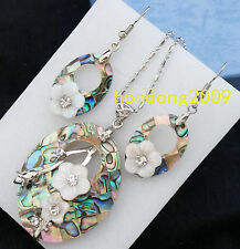 Natural Oval ABALONE SHELL MOTHER OF PEARL CARVED NECKLACE DANGLE EARRING SET