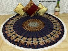 Cotton Fabric Mandala Peacock Design Small Roundie 49 Inches Wall Hanging Hippee