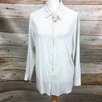 J Jill Women's Blouse Top Button Front White Plaid Check Rayon Size Med