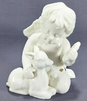 White Angel with Deer Fawn Lamb Figurine