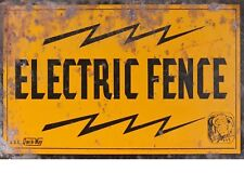 """TIN SIGN """"Electric Fence""""  Highway Deco  Garage Wall Decor"""