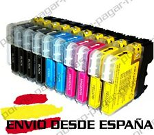 10 CARTUCHOS COMPATIBLES NonOem BROTHER LC980 LC1100 DCP-197C DCP197C