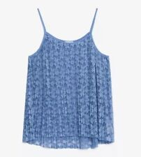 NWT ZARA Women's Blue Spaghetti Strap Floral Lace Pleated Top Shirt -Size Small