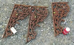 "3 Antique Salvaged Iron Corbel Ornate Flower Scroll Design 23"" Tall 10.5"" Wide"