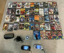 """PSP """"fat"""" in black, PSP """"slim"""" silver, 1 case, 3 cables, memory card, & 50 games"""