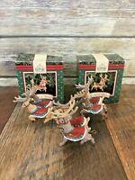 Lot of 3 Hallmark Keepsake 1992 Christmas Ornaments #1 #2 #4 Santa Reindeer