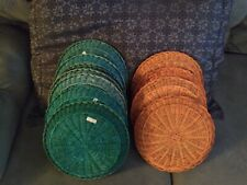 12 Vtg. Colored Wicker Rattan Paper Plate Holders in Euc! Perfect For Camping!