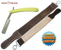 Light Yellow Handle Folding Shaving Straight Razor & Leather Sharpening Strop