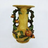 Vase Pomegranate Themed Elaborate 3D Sculptural Majolica Design Double Handles