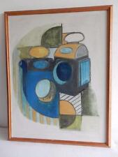 old PAINTING oil ABSTRACT RAILWAY LAMPS SIGNED