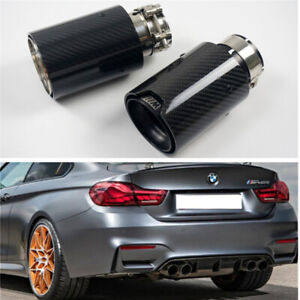 BLACK CARBON FIBER EXHAUST TIP PIPE For BMW 63 mm IN OUT NEW