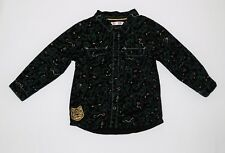 DPam Jungle Monkey Snakes Eyes Black Button Front Top, 18 mos.