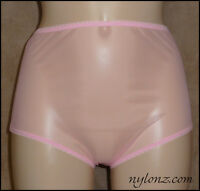 Vintage Style Completely Sheer Transparent Nylon FULL CUT Panties PINK