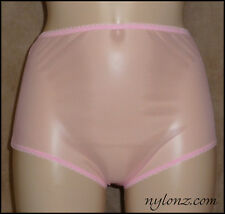 Vintage Style Completely Sheer Transparent Nylon FULL CUT Panties PINK - NYLONZ