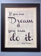 Disney si vous pouvez Dream It You Can Do It... Cadeau Antique Dictionary page art #112