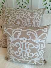 French Provincial Hamptons Linen Appliquéd Square Decorator Cushion