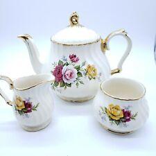 Vintage Sadler England China Tea Pot Pink Roses Gold Trim, Creamer and Sugar Set