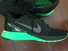 NEW MEN NIKE LUNARLON RUNNING SHOES -STABLE RIDE SOFT -BLACK AND GREEN SIZE 12.5