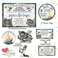 30 Where the Wild Things Are Birthday Party or Baby Shower Custom Nugget Labels