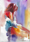 original painting A3 111KrV art samovar Modern Watercolor female nude alla prima