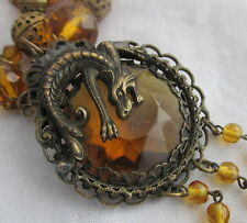 Vintage Czech Max Nieger Brass&Amber Glass Beaded Necklace Figural Snake Pendant