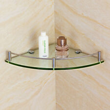 Bathroom Bath Shower Corner Glass Shelf Caddy Rack Organizer Holder Tier  w j