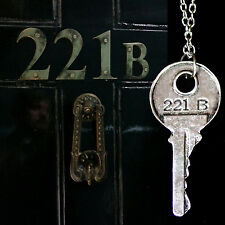 Sherlock Holmes 221 B Door Key Necklace Pendant Silver 4.5 cm, 44 cm Chain