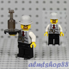 LEGO - Male Minifigure Waiter w/ Gray Jacket & Bowler Hat Serving Tray Bottle