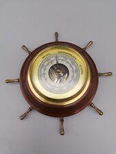 kleine alte Wetterstation Barometer Steuerradoptik, Holz, Messing Fundzust. 036