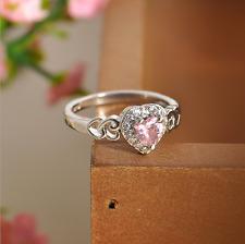 Women Fashion Heart Pink White Topaz Gemstone Silver Plated Ring Gift Size 6 RJ7