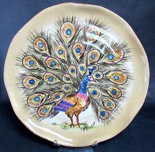 "Tabletops Gallery Peacock 18"" Shallow Serving Platter Centerpiece Handmade"