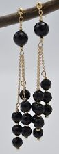 New 14K Solid Yellow Gold Faceted Black Onyx Chandelier Earrings