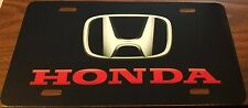 HONDA CUSTOM LICENSE PLATE CAR EMBLEM Red & Black Version