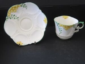 Aynsley bone china tea cup and saucer Pattern 5233 lemon and green