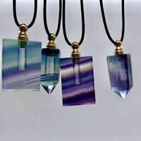 Natural Fluorite Quartz Crystal Perfume Bottle Necklace Pendant healing 1pcs