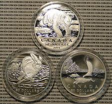 """2014-2015 Canada 3x $50 Dollar .9999 Fine Silver """"Beaver"""" """"Bear"""" """"Hare"""" coin"""