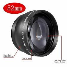 New 52mm 2X Magnification Telephoto Lens Tele Converter for Canon Nikon Sony