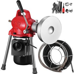 500W Drain Cleaner Electric Eel Rigid Plumbing Sewerage Pipe Machine w/ Cutters