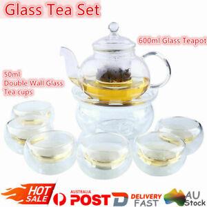 600ML Heat Resistan Glass Teapot Infuser+Warmer Kettle+6Double Wall Cups Tea Pot