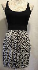 Foreign Exchange Sexy Black White Animal Leopard Print Blouson Dress Sz Medium M