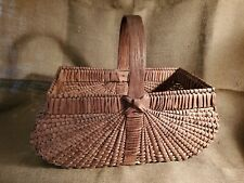 Large Woven Basket, Wooden Handle, Nice Color and Weave!