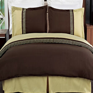 Astrid Embroidered 3-Piece Duvet Covers Set 100% Microfiber 300 Thread Count