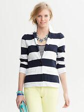 Banana Republic White Rugby Stripe Blazer Jacket, Cotton, Unlined, Size M, NWT