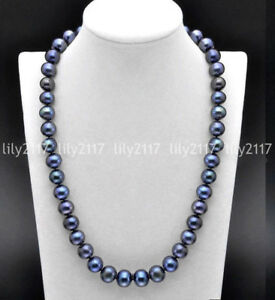 Fashion Natural 9-10mm Black Freshwater Cultured Pearl Necklace 18/20/22/24/36''