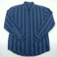 Zanella Mens Blue Striped Long Sleeve Button Up Casual Shirt Size Large