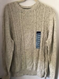 BASIC EDITIONS MEN'S Ivory Cable Knit Sweater Crew Neck Size L