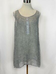 Eileen Fisher Linen Blend Mesh Tunic Top Large