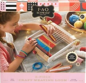FAO Schwarz Crafting Weaving Loom 8 piece Kit Genuine Wood Loom Easy to Use NIB