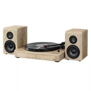 Victrola Hampton Record Player 3-Speed Turntable, Bluetooth,Speaker Wood & Linen